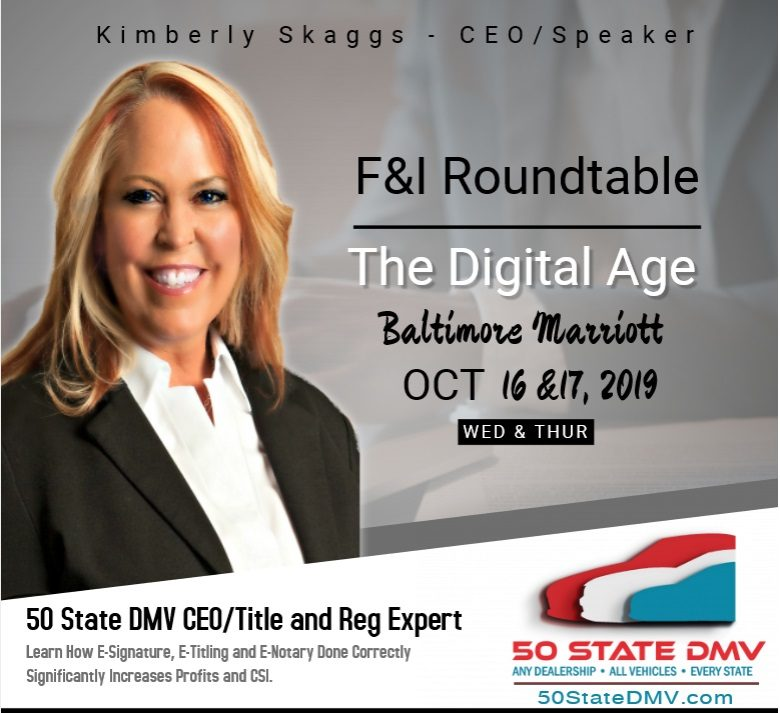 50 State DMV CEO, a Title and Reg Expert, to Speak at F&I Roundtable – The Digital Age